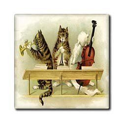 """3 Vintage Musical Cats - 12 Inch Ceramic Tile by Florene. $22.99. Dimensions: 12"""" H x 12"""" W x 1/4"""" D. Clean with mild detergent. Construction grade. Floor installation not recommended.. High gloss finish. Image applied to the top surface. 3 Vintage Musical Cats Tile is great for a backsplash, countertop or as an accent. This commercial quality construction grade tile has a high gloss finish. The image is applied to the top surface and can be cleaned with a mild d..."""
