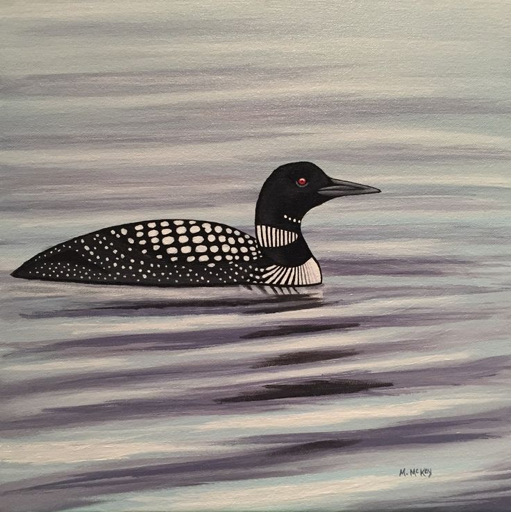 Common Loon, original acrylic painting for sale by artist Maureen McKay