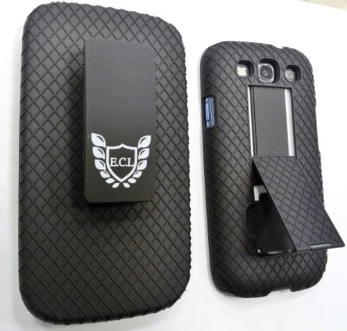 E.C.L USA ® Shell Holster Combo Case for Samsung Galaxy S3 with Kick-Stand (Screen Protector & Cloth) – Black. | Mobile Phone Reviews|Buy Mobile Phones Online