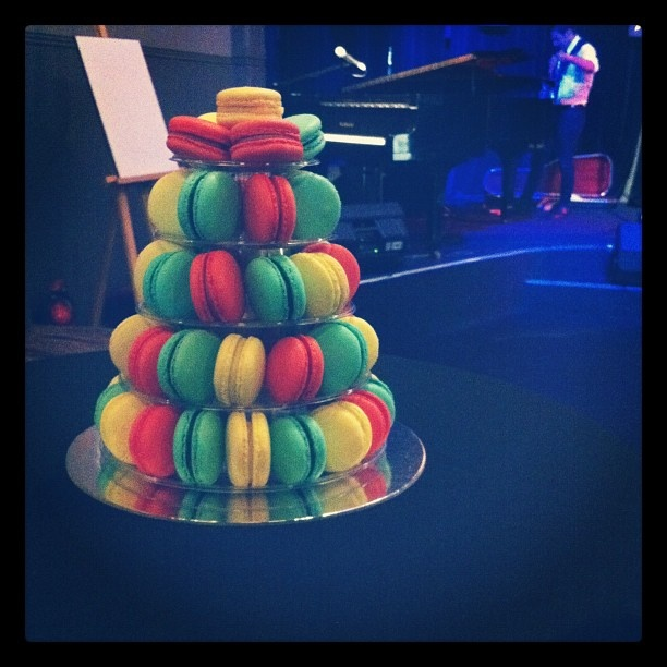 """@lisatomkeddie's photo: """"A tower of macaroons at #adlfringe poster launch. Fancy!"""""""