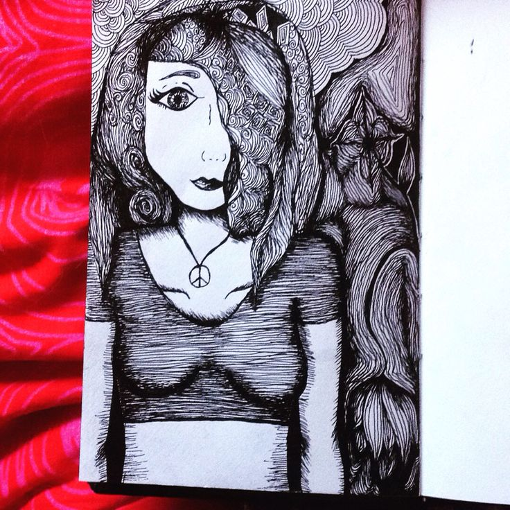Drawing. Rapidographs 0,2 and 0,3. Black ink. Hippie girl. Flowers.