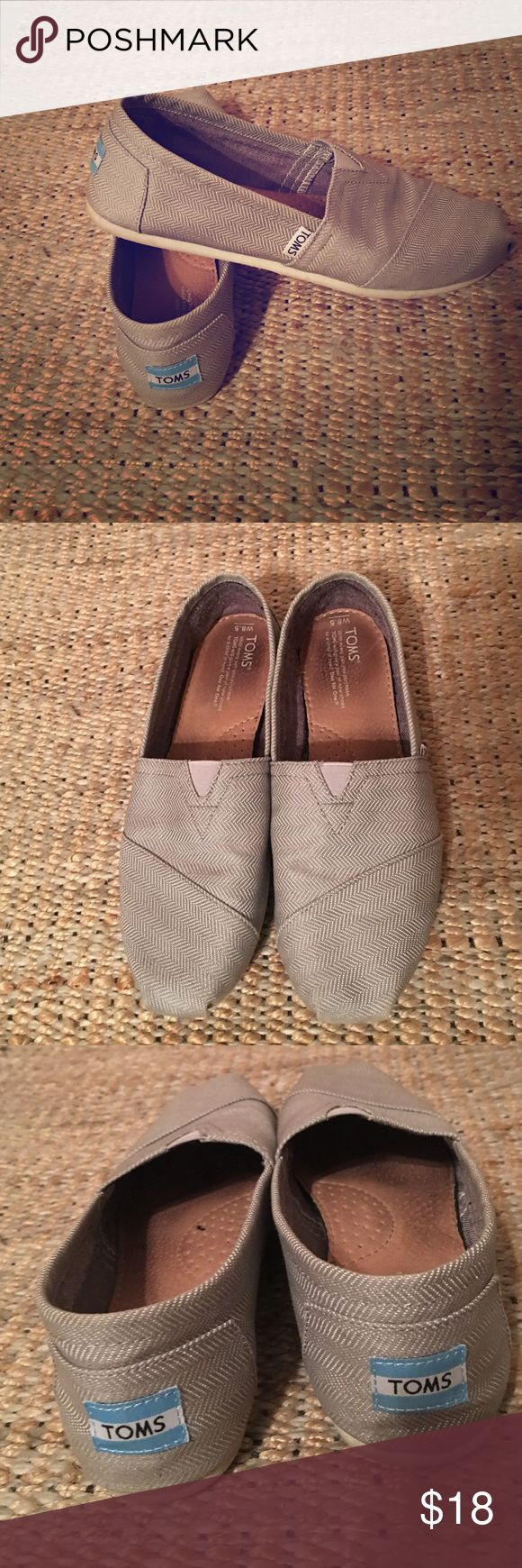 TOMS classic slip on Light gray. Some wear on soles. Otherwise in pretty good condition. No stains on fabric. TOMS Shoes Flats & Loafers
