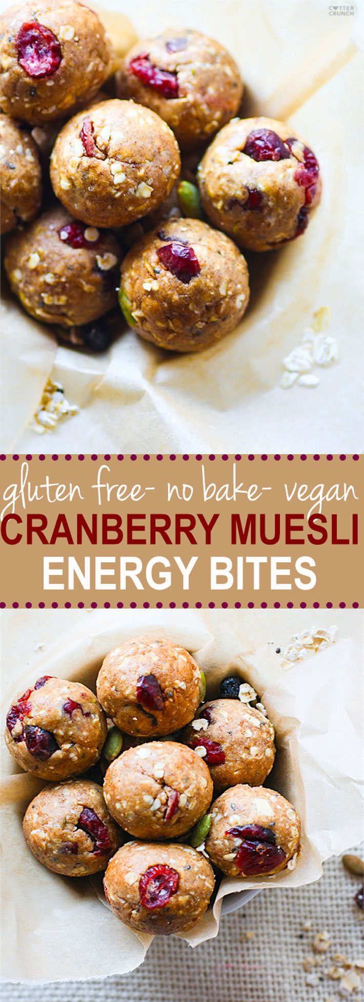 No Bake Gluten Free Muesli Energy Bites Recipe! This gluten free muesli bite recipe is super simple to make, vegan friendly, and a must make for healthy snacking. Homemade cranberry energy bites ready in no time! @cottercrunch  @vitamix