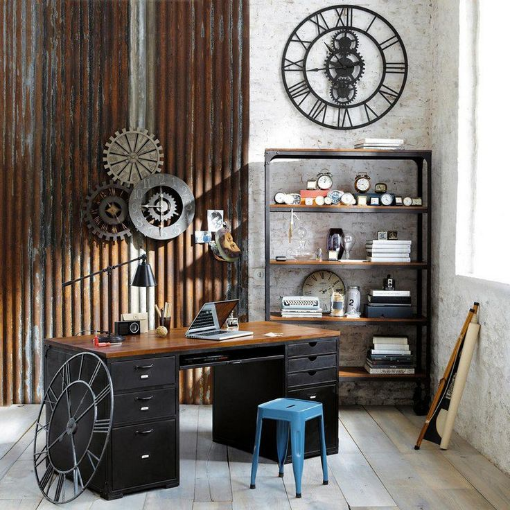 d coration murale industrielle horloge murale bureau en bois et tabouret vintage bleu. Black Bedroom Furniture Sets. Home Design Ideas