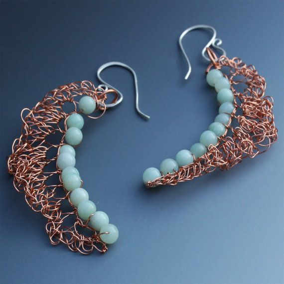 Crocheted Wire Earrings In Copper With Amazonite by alionakjewelry, $31.00
