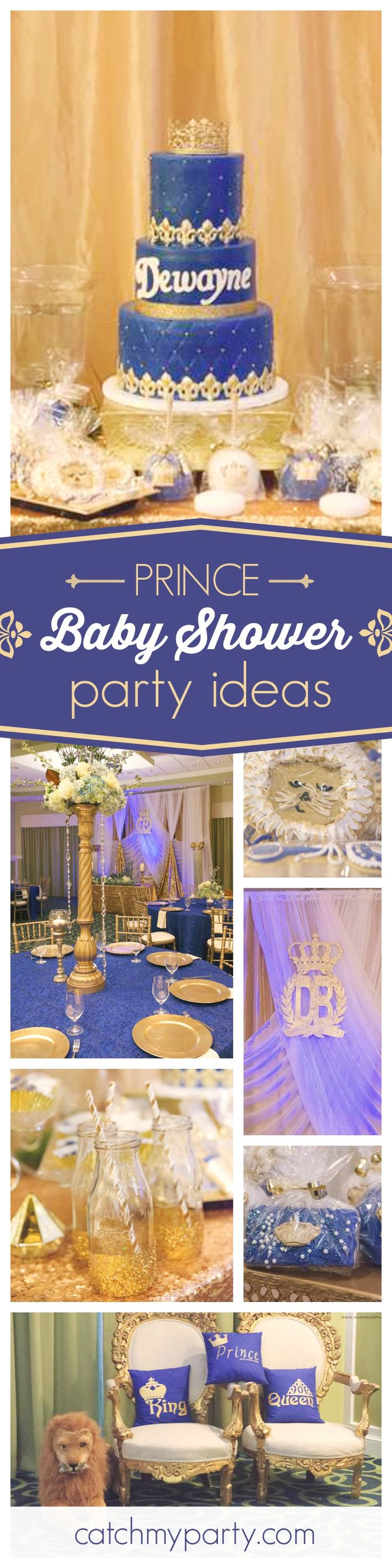 You won't want to miss this regal prince baby shower! The royal dessert table is so elegant!  See more party ideas and share yours at CatchMyParty.com