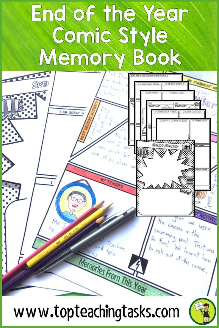 End of the year memory book. Celebrate a fantastic school year and help your students to remember it forever with our end of year memory book. Your upper elementary students will love this end of the year printables activity - perfect for your 3rd, 4th, 5th, and 6th grade class!  An engaging memory book for your grade three, grade four, grade five students. {Grade 3, 4, 5, ELA, Language Arts, Memory book, end of year activities for kids. End of Year Printables, End of Year Worksheets}