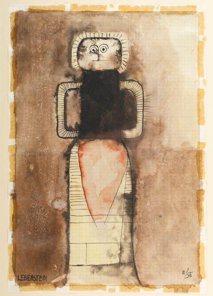 JAN LEBENSTEIN (1930 - 1999)  BEZ TYTUŁU, 1956   tusz, akwarela papier milimetrowy / 40,5 x 28 cm w świetle passe-partout