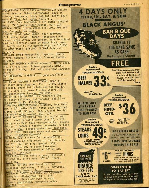 Meat market ad from the 1966 Pennysaver.