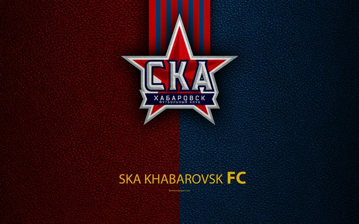 Download wallpapers FC SKA Khabarovsk, 4k, logo, Russian football club, leather texture, Russian Premier League, football, Khabarovsk, Russia