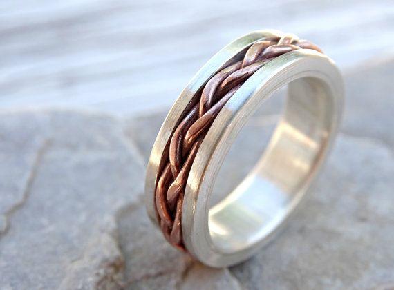 braided ring silver copper unique wedding band by CrazyAssJD