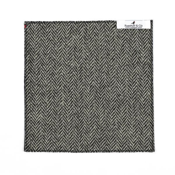 Black and White Herringbone Tweed Pocket Square.