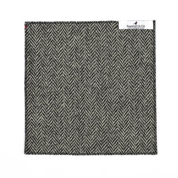 Black and White Herringbone Tweed Pocket Square.