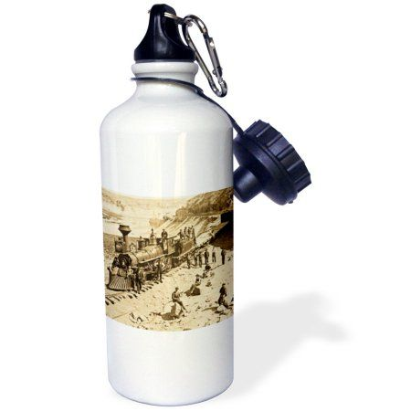 3dRose Scenes from the Union Pacific Railroad , Sports Water Bottle, 21oz, White