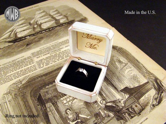 Antique white ring box. Free shipping and engraving by MWBStudios