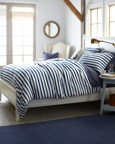 Garnet Hill, French Stripe Jersey-Knit Bedding in Sailor Blue Stripe, $28 - $118