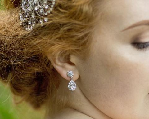 Teardrop Crystal Silver Earrings, Tia