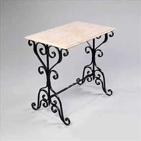 Herb Table in wrought iron and Egyptian marble. Handmade in USA by Griffin Creek. 29W x 18 D x 30H - $225.00