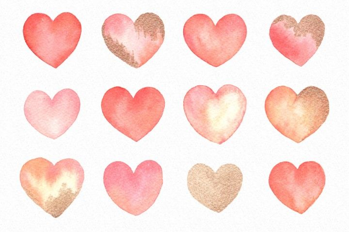 Watercolor Valentine Hearts Love Clipart Graphics By By Lef With