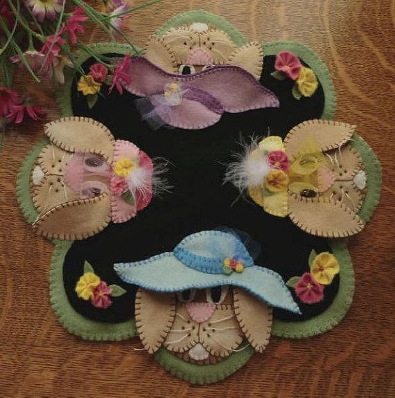 Primitive Quilt Penny Rug Pattern - In Their Easter Bonnets by Caths Pennies Designs - 3D bunnies