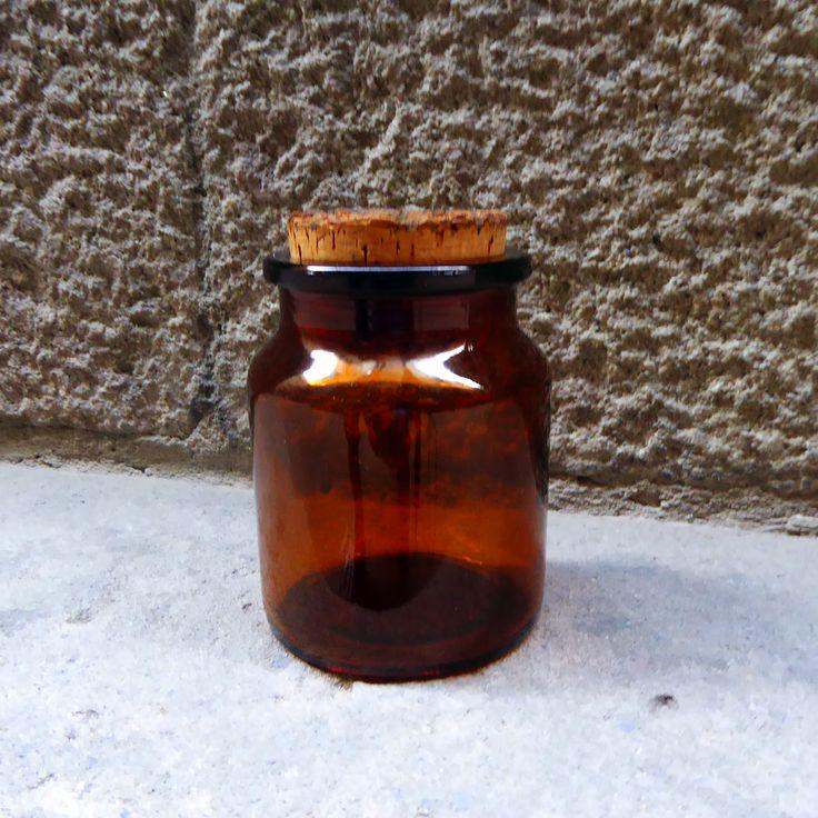 Tarro de farmacia boticario de vidrio marrón ambar |