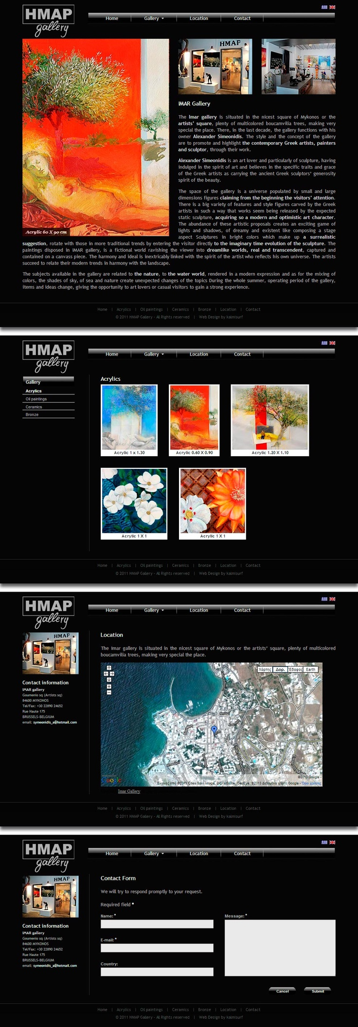 Web design & development for Imar Gallery.  Black can make it easier to convey a sense of sophistication and mystery in a design