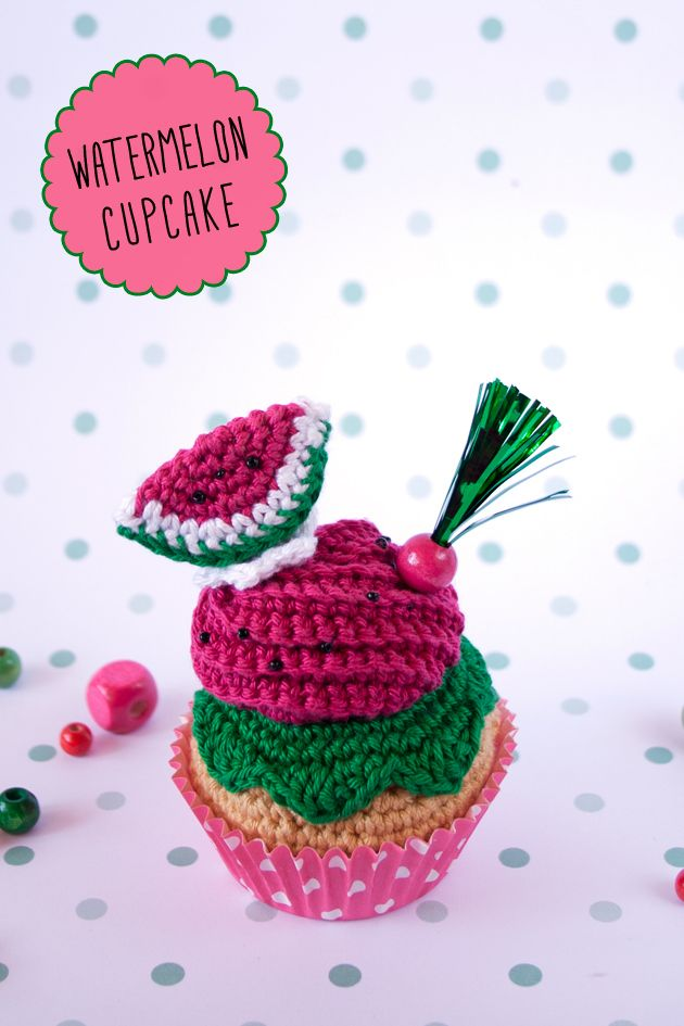 """Watermelon crochet cupcakes By """"I am a Mess"""""""