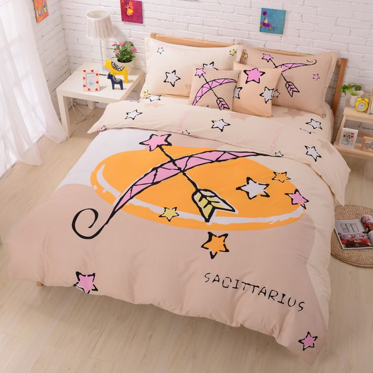 Sagittarius Beige Duvet Cover Set Star Sign Bedding Kids