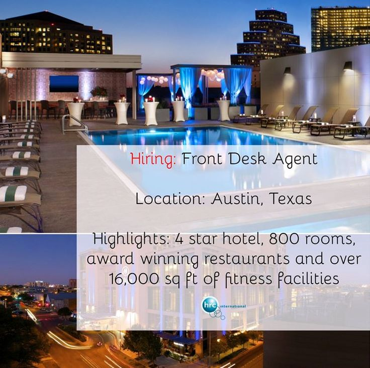 This hotel part of an international chain of hotels and resorts in downtown Austin and is located very close to Austin's famous nightlife and shopping district. They are looking for a Front Desk Agent at this luxury hotel. Don't miss out on this chance to apply!    Sign up: https://www.hrc-international.com/jobs/job_train_in_rooms_at_this_luxurious_hotel_721457_31.html