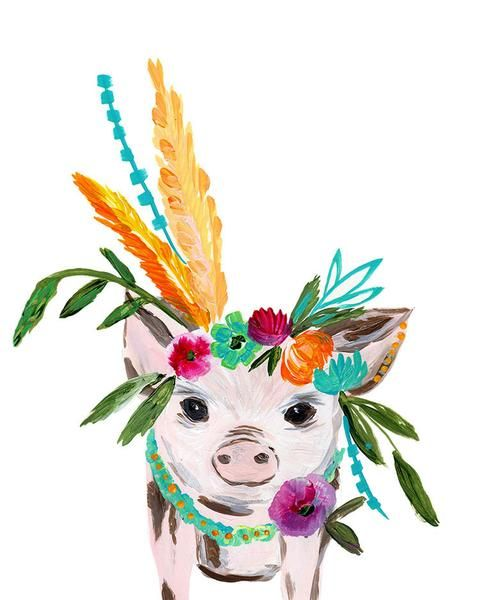 Boho Pig Art Print painted by Bari J. in acrylics. Chicken Art. Boho style. Bohemian. Gypsy Kitchen art