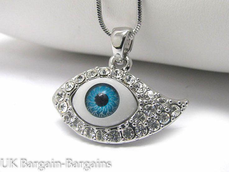 Lucky White Gold Plated Crystal Evil Eye Hamsa White Blue Luck Necklace BOHO