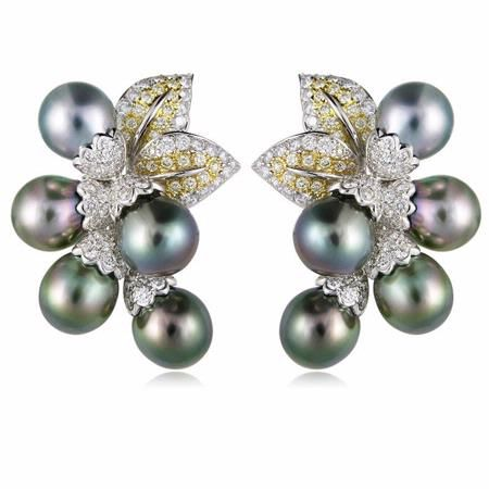 3 18ct Diamond And South Sea Pearl 18k Two Tone Gold Earrings