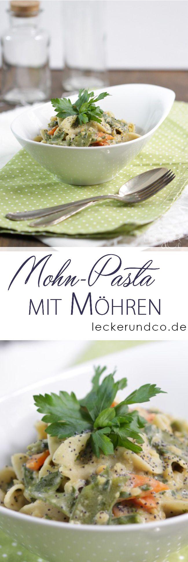 Mohn-Pasta mit Zuckerschoten und Möhren | vegan