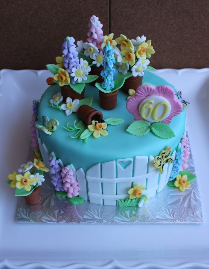 A Happy Birthday spring flower cake for a special lady who turned 60!!