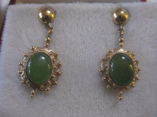 Antique-Vintage-14K-Yellow-Gold-JADE-Dangle-Earrings