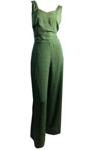 Garden Girl Green Floral Rayon Pantsuit Playsuit Low Back circa 1940s
