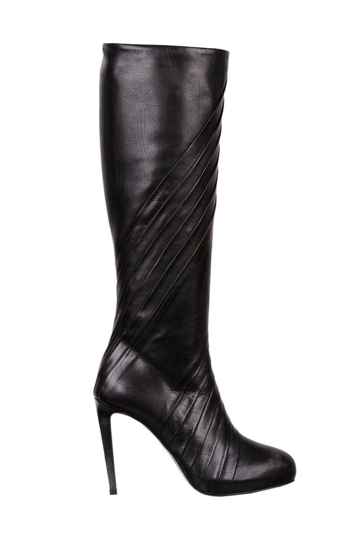 black leather over knee boots - fiorifrancesi