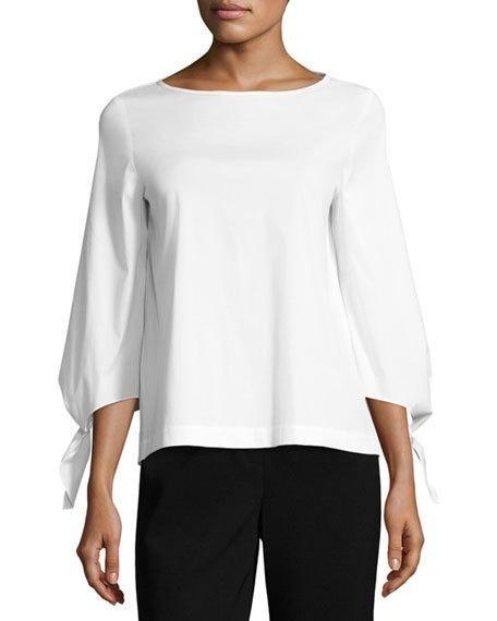 Lafayette 148 Elaina Tie Sleeve Stretch Cotton Blouse White