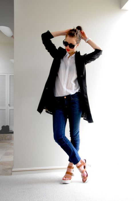 !: Fashion, White Shirts, Street Style, Casual, Red Lips, Jeans, Wear, Spring Outfits, Black Jackets