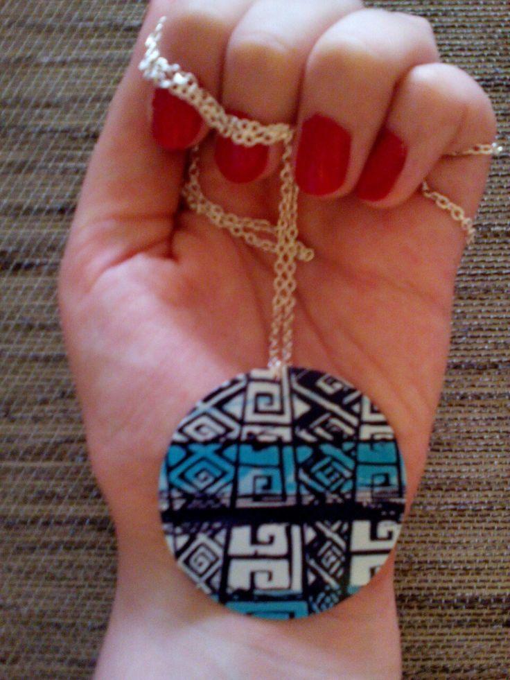 Kék-fekete-fehér azték mintás nyaklánc