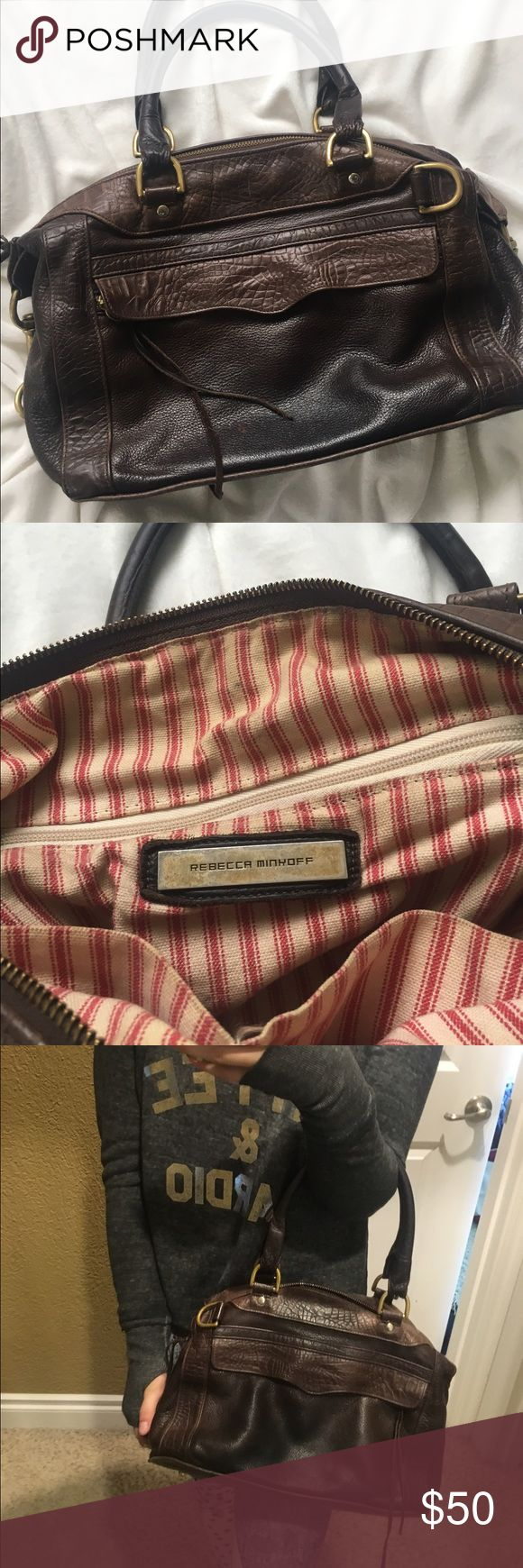 Rebecca Minkoff Bag Super cute brown leather Rebecca Minkoff purse! Perfect for a girl on the go. Has slight stain above the label on the inside (pictured). Still in great condition! Rebecca Minkoff Bags Hobos