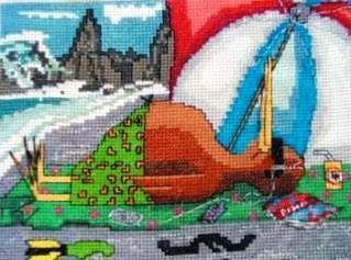 KIWI at the Beach Cross Stitch Pattern  Measures by KraftyKiwis