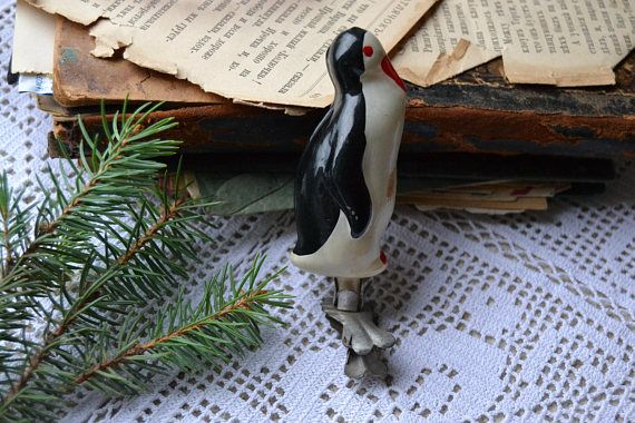 Christmas tree penguin glass ornament Vintage collectible