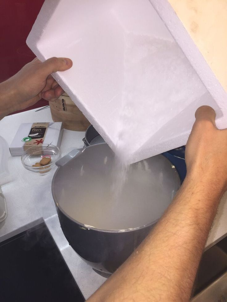 Making icecream with dry ice pellets (leftovers from Halloween)