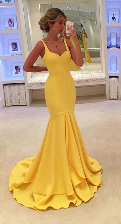 New Arrival Yellow Prom Dress,Mermaid Evening Dress,Long Evening Gown,Formal… I like this but in blue