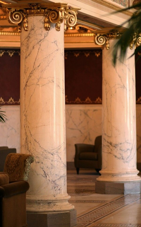 Scagliola columns at the French Lick Springs Hotel, French Lick, IN