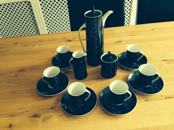 Complete Cmielow Coffee set in Black and white Comprising : Coffee Pot Milk Jug � Lidded Sugar 6 x Saucers 6 x Cups ( I cup has small chip see photos) Never used but as described above and shown in p