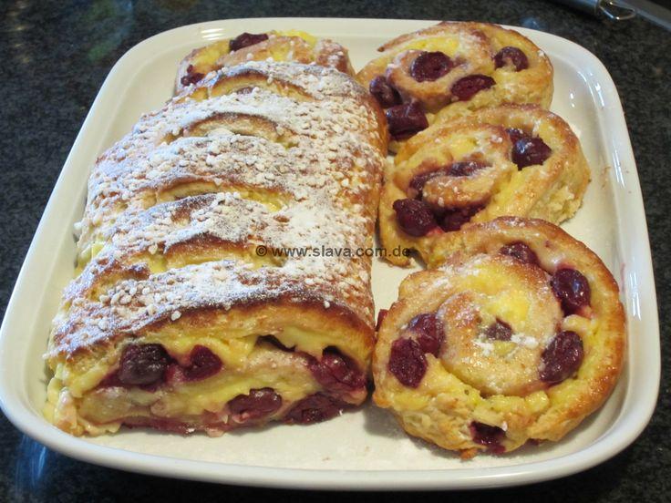 schnelle Pudding-Kirsch-Schnecken/Strudel