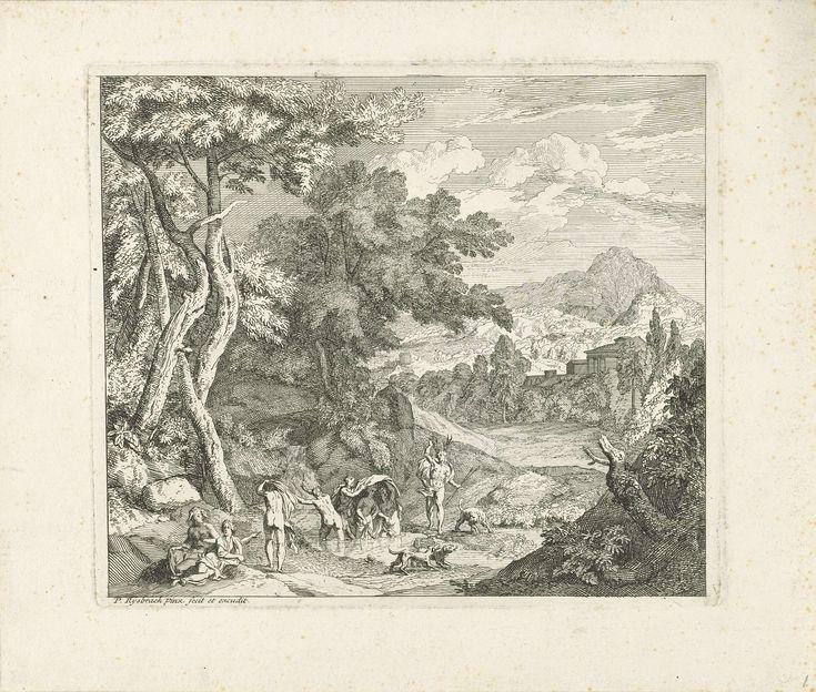 Pieter Rijsbraeck | Diana en Actaeon, Pieter Rijsbraeck, 1670 - 1729 | Gezicht op een heuvelachtig landschap waar Diana en haar nimfen een bad nemen in een rivier. Bij de rivier staat de jonge jager Actaeon met zijn honden. De nimfen probeerden Diana zo goed mogelijk tegen de blikken van Actaeon te beschermen. Omdat Actaeon Diana toch naakt zag, veranderde zij hem als straf onmiddellijk in een hert.