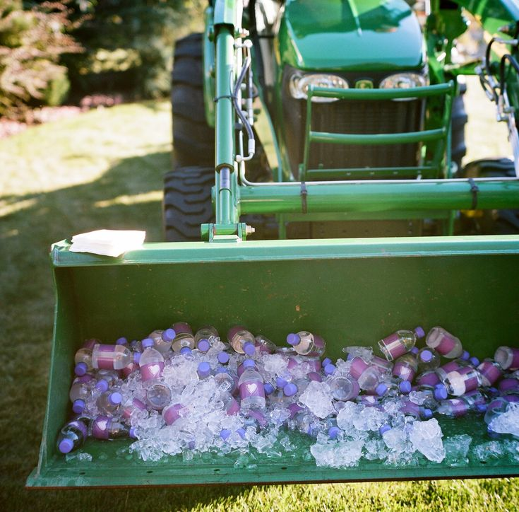 Bainbridge Farm Island Wedding water and ice in the John Deer tractor. ReluctantEntertainer.com